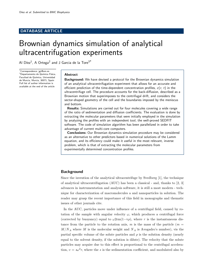 Example of Journal of Biomedical Semantics - database format