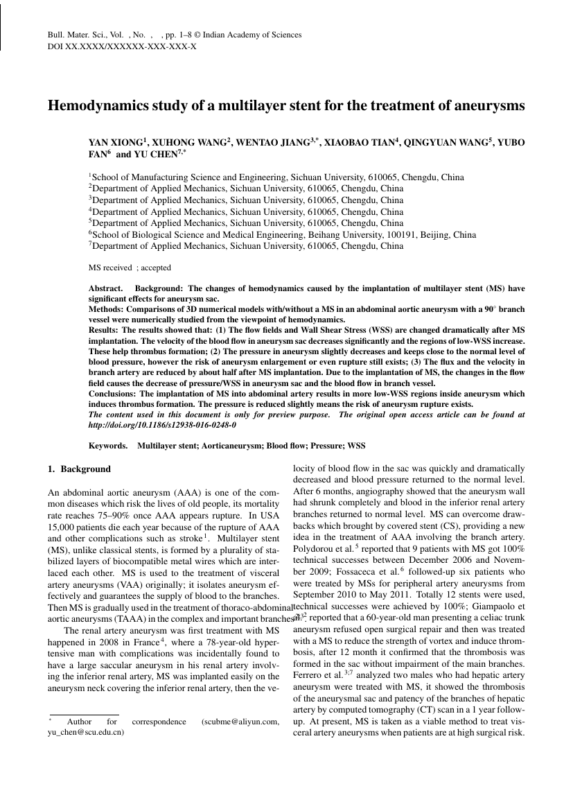 Example of Journal of Genetics format