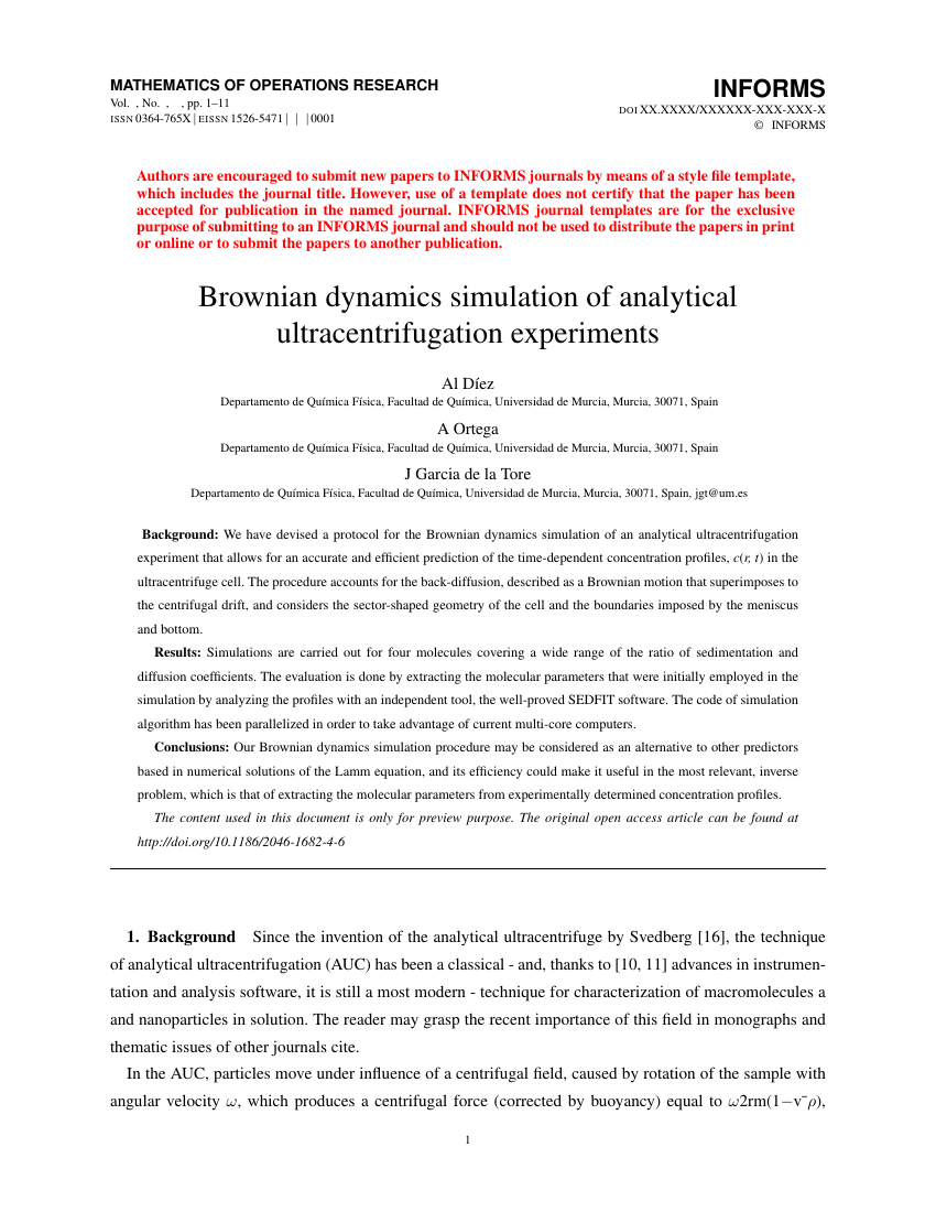 Example of Mathematics of Operations Research format