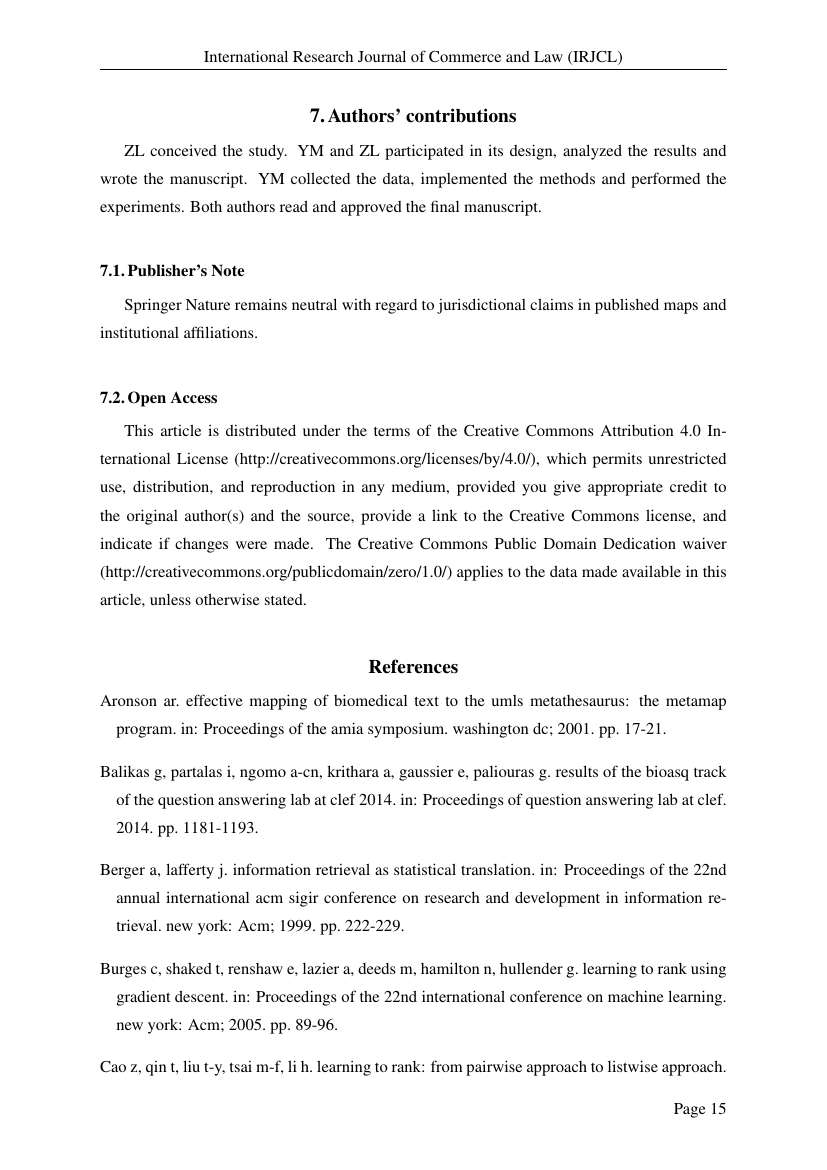 Example of International Research Journal of Commerce and Law (IRJCL) format