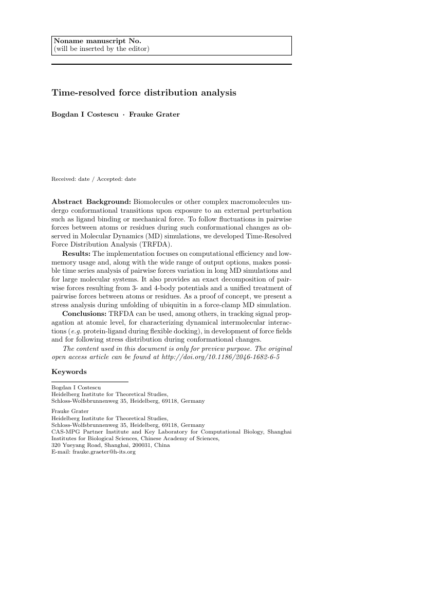 Example of Journal of Computational Neuroscience format