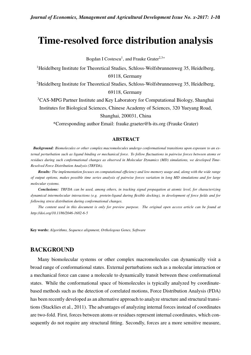 Example of Journal of Economics, Management and Agricultural Development format