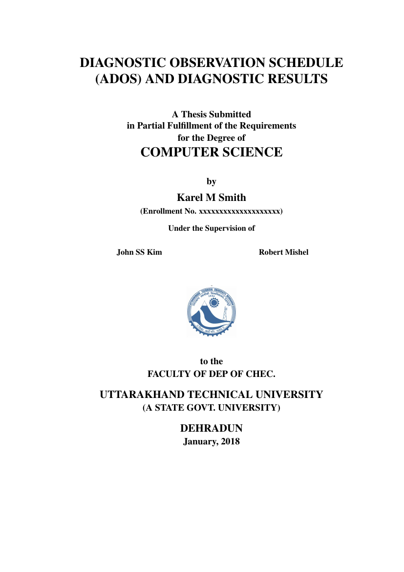 Example of Thesis Format for Uttarakhand Technical University format