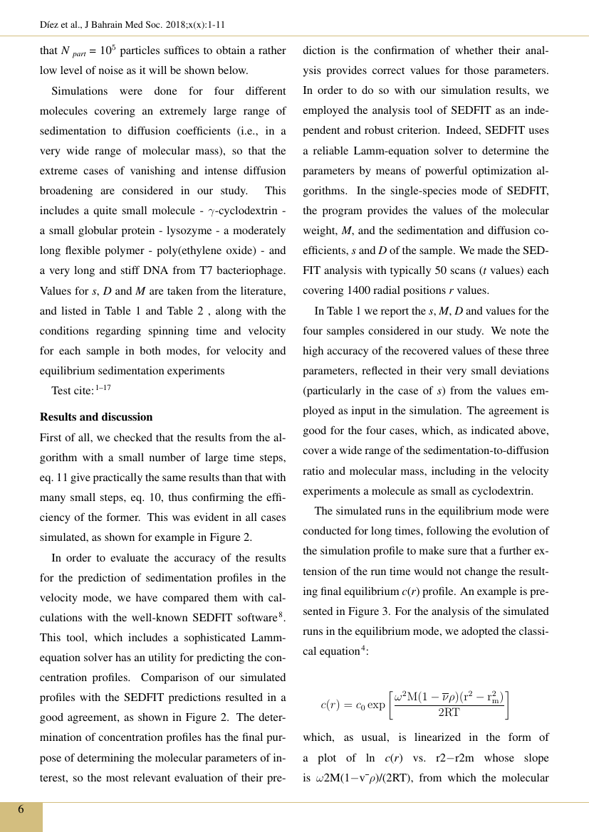 Example of Journal of the Bahrain Medical Society format