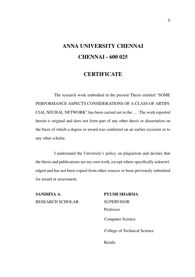 ANNA UNIVERSITY - AU Thesis Format for Anna University Template