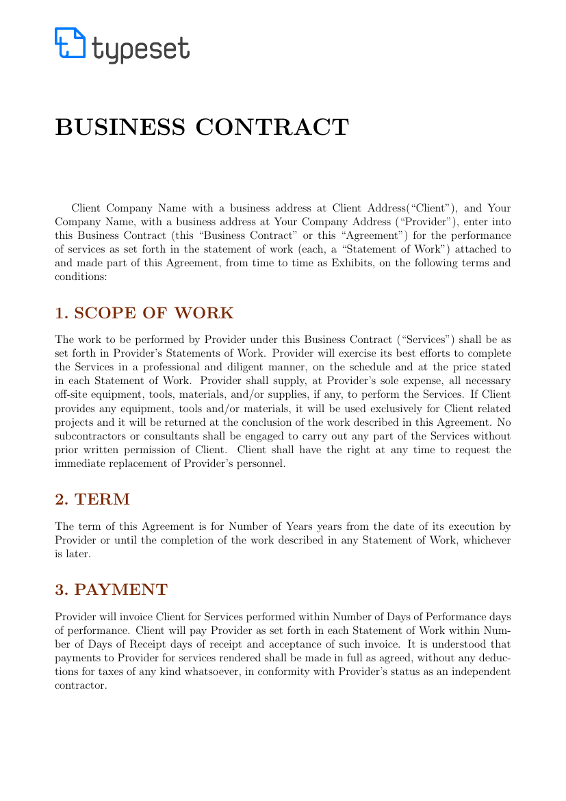 Example of Business Contract format