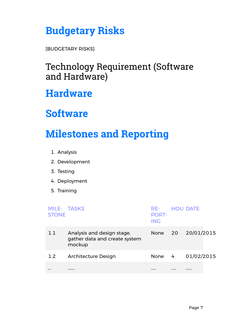 Example of Software Development Proposal format