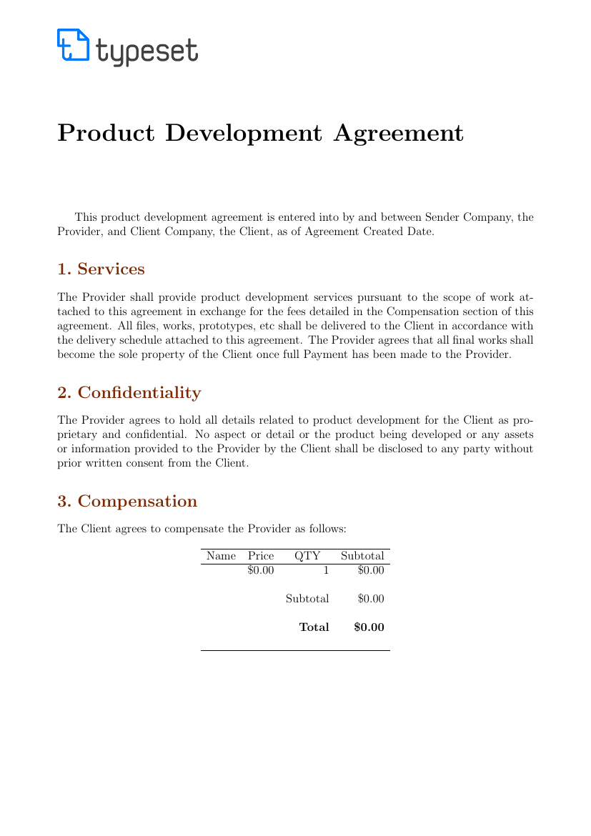 Agreements Product Development Agreement Template Template