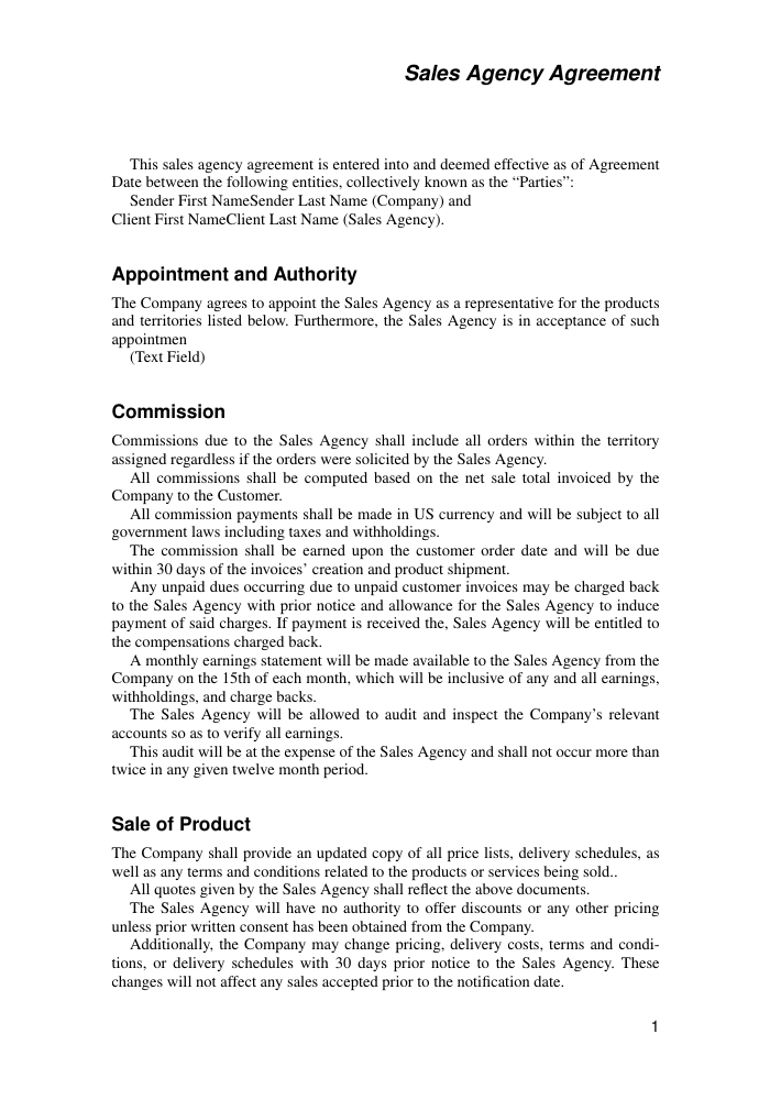 Example of Sales Agency Agreement Template format