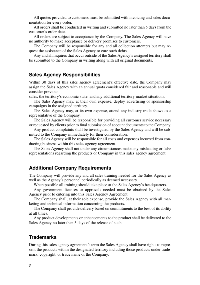 Sales Agency Agreement Template | Sales Sales Agency Agreement Template Template