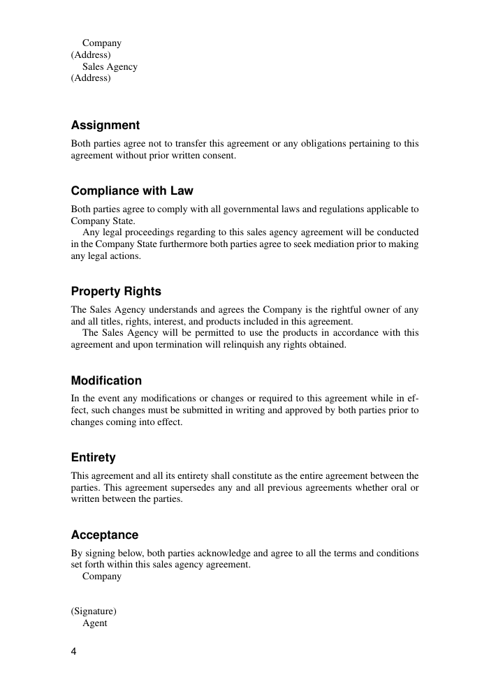 Sales Sales Agency Agreement Template Template