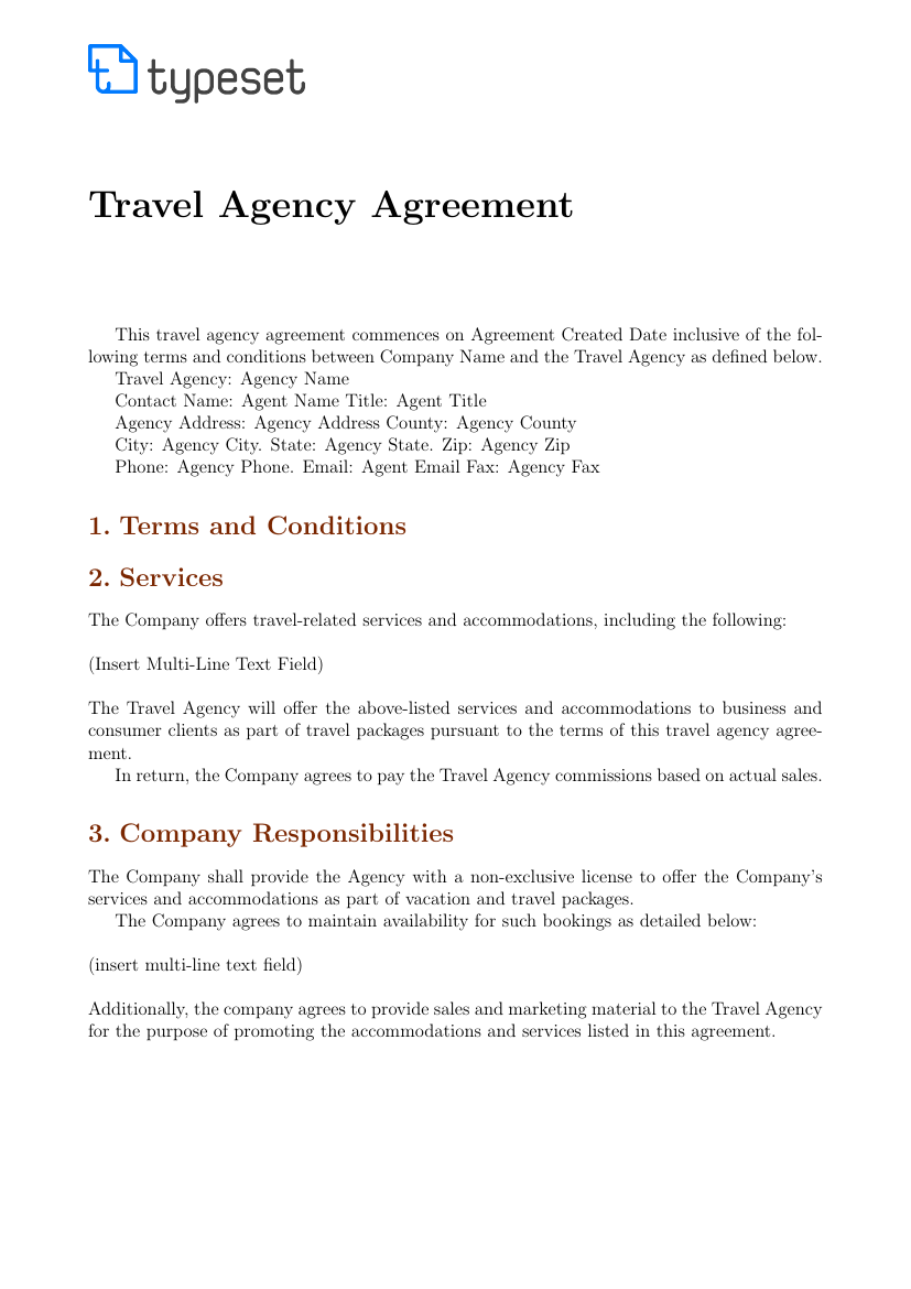 Example of Travel Agency Agreement Template format