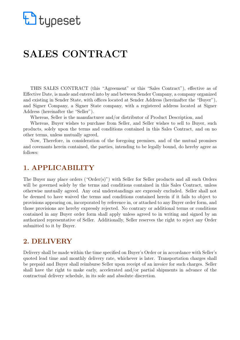 sales sales contract template template