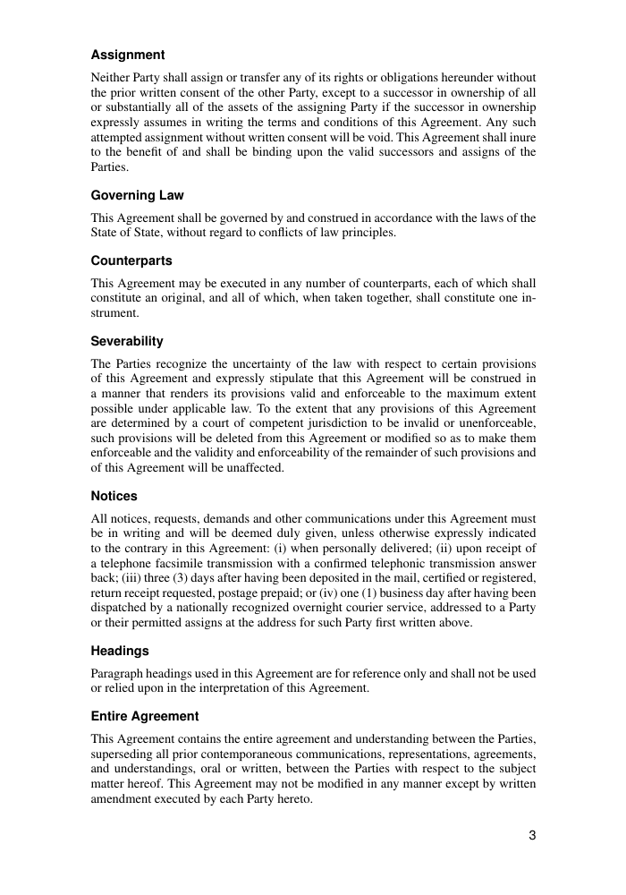 Example of Joint Venture Agreement Template format