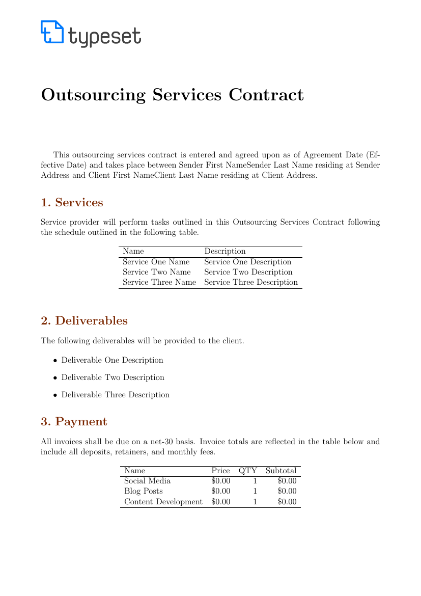 Outsourcing agreement template free 4 hr contract samples.