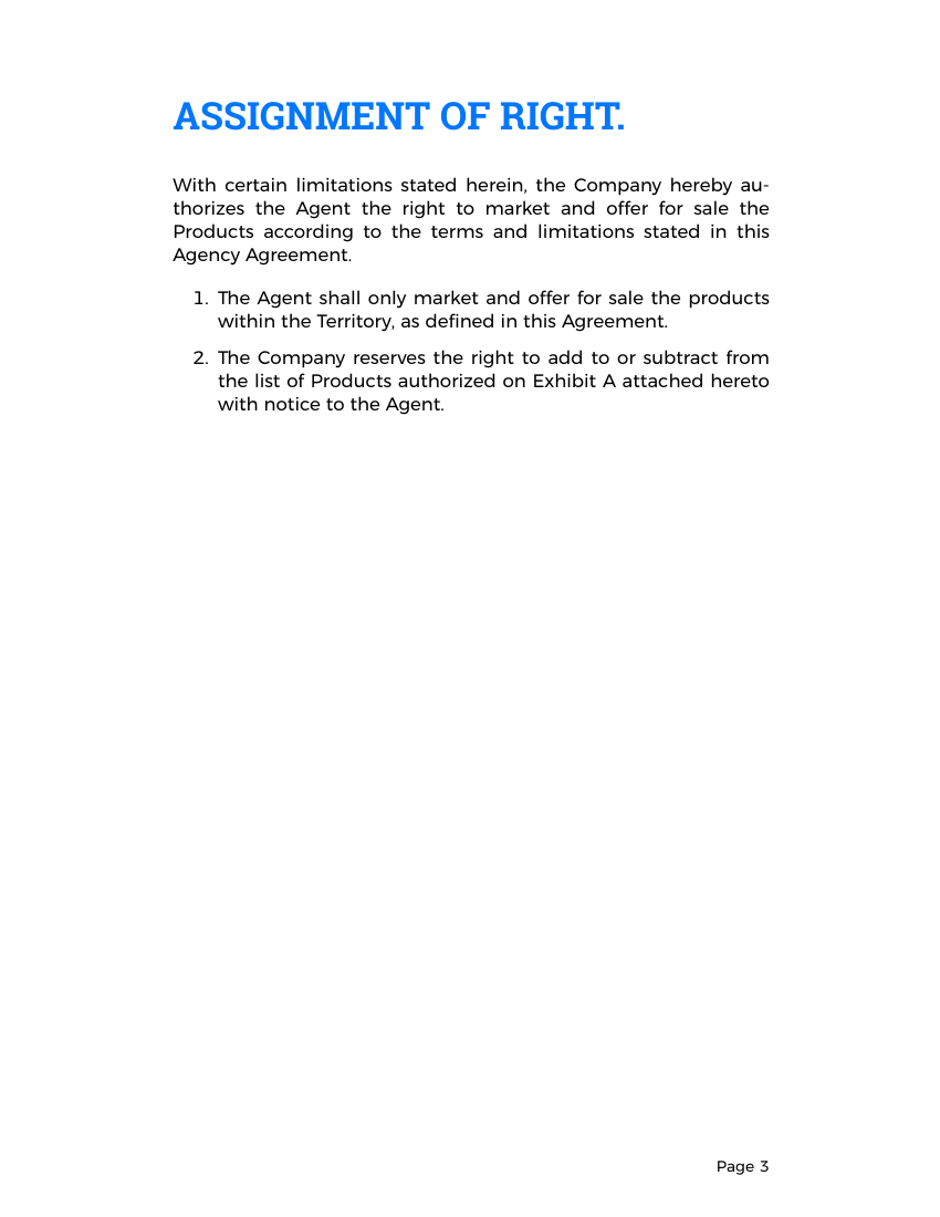 Example of Agency Agreement Template format