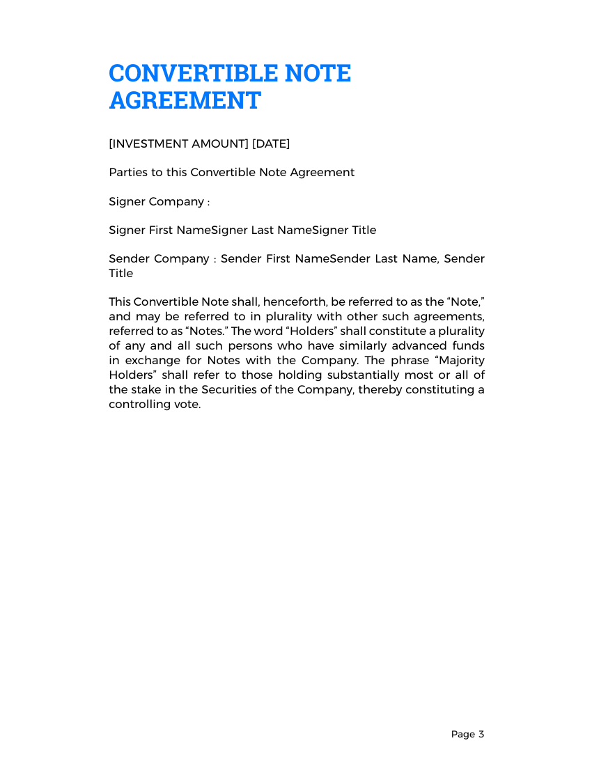... Example Of Convertible Note Agreement Template Format ...