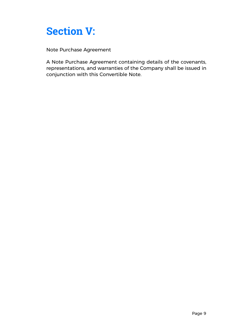 Example of Convertible Note Agreement Template format