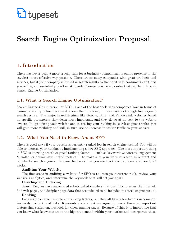 proposals search engine optimization proposal template