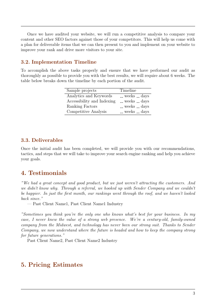 Example of Search Engine Optimization Proposal format