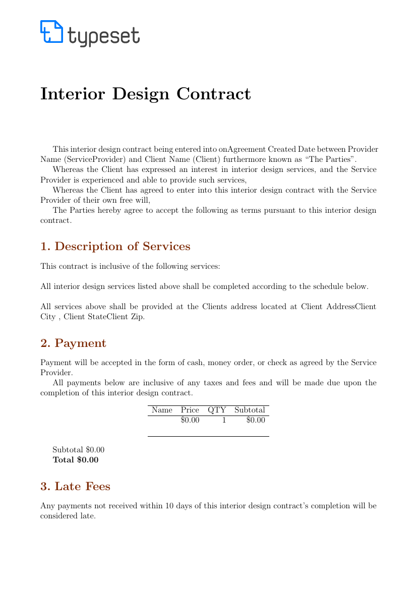Merveilleux Example Of Interior Design Contract Template Format ...