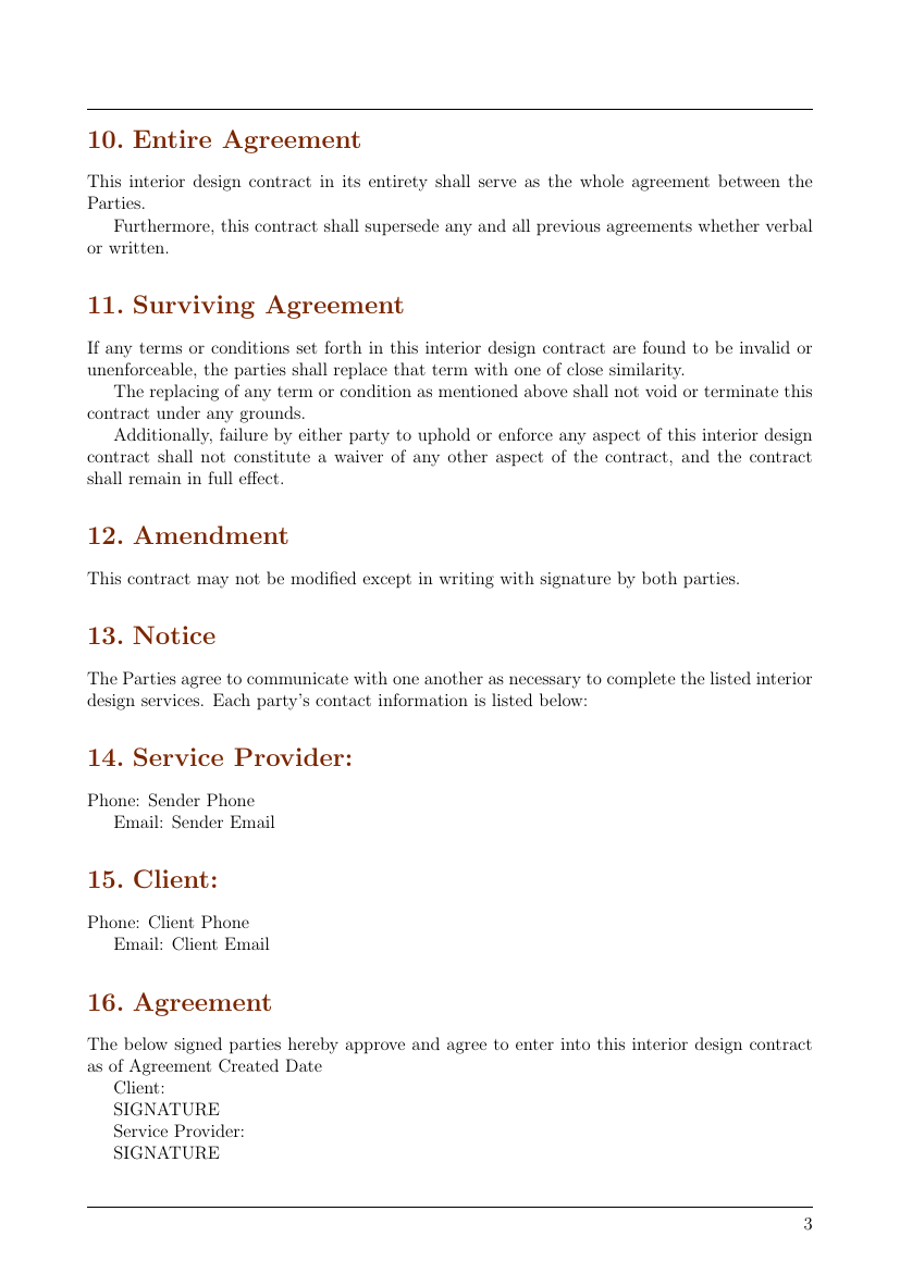 Contracts , Interior Design Contract Template Template
