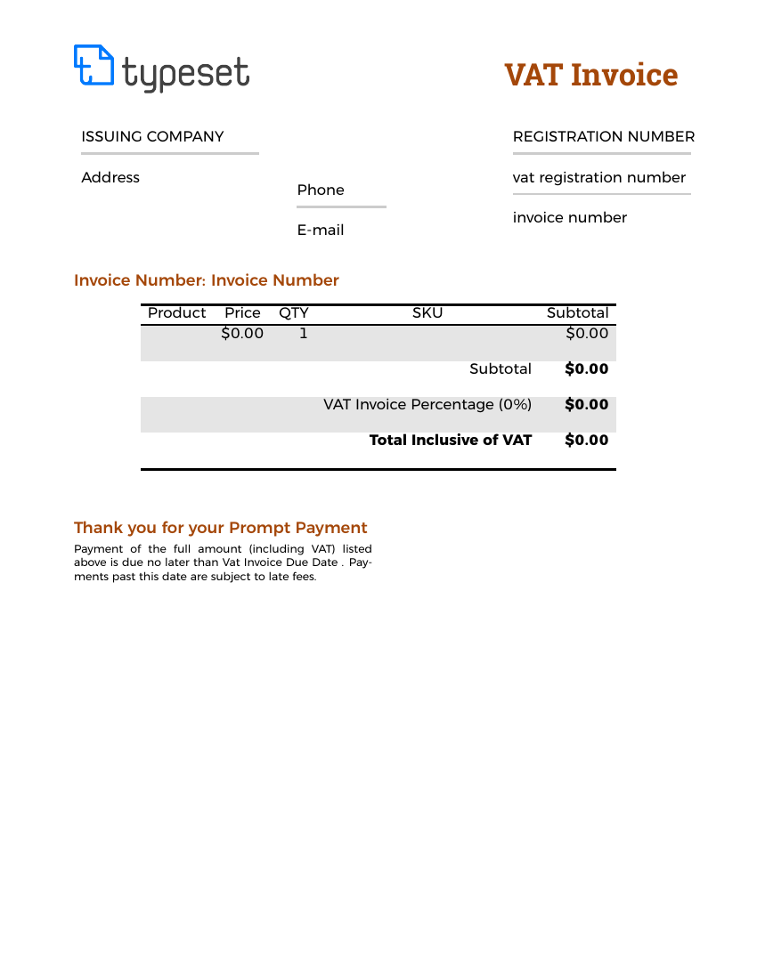Example of VAT Invoice Template format