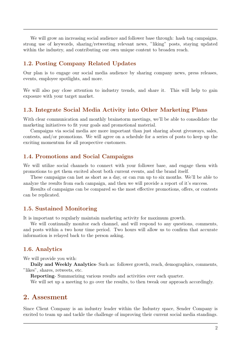 Example Of Social Media Marketing Proposal Format
