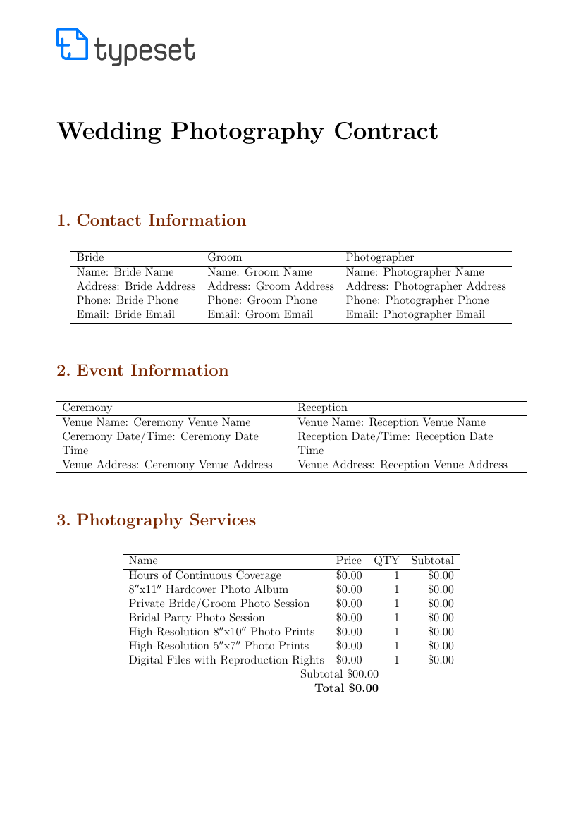 Wedding Photography Contracts Examples: Wedding Photography Contract Template Template