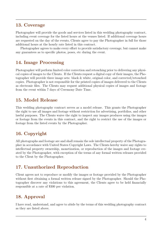 Wedding Photography Contract Example: Wedding Photography Contract Template Template