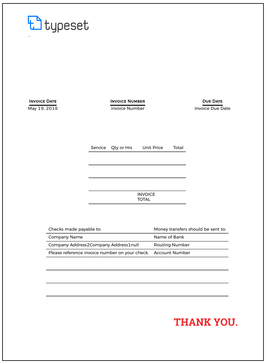 Example of Design Invoice Template format