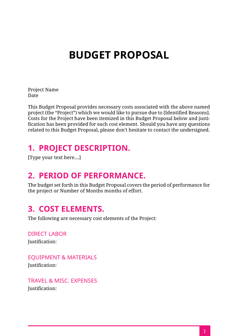 proposals budget proposal template