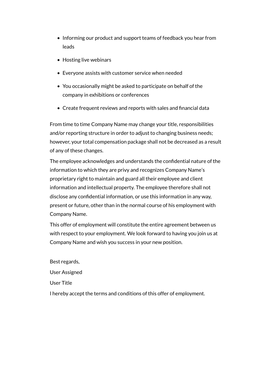 Example of Employment Contract format