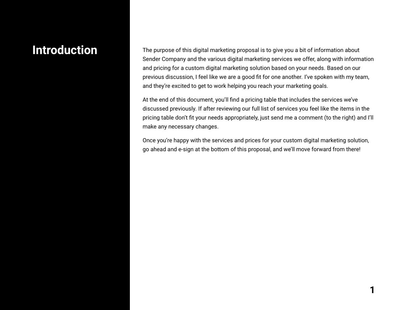 Example of Digital Marketing Proposal format