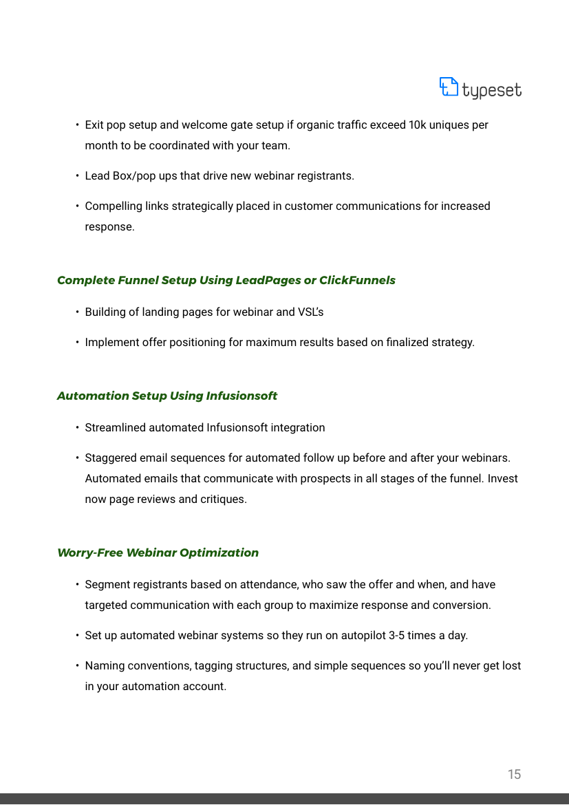 Example of Funnel Build / Management Agreement format
