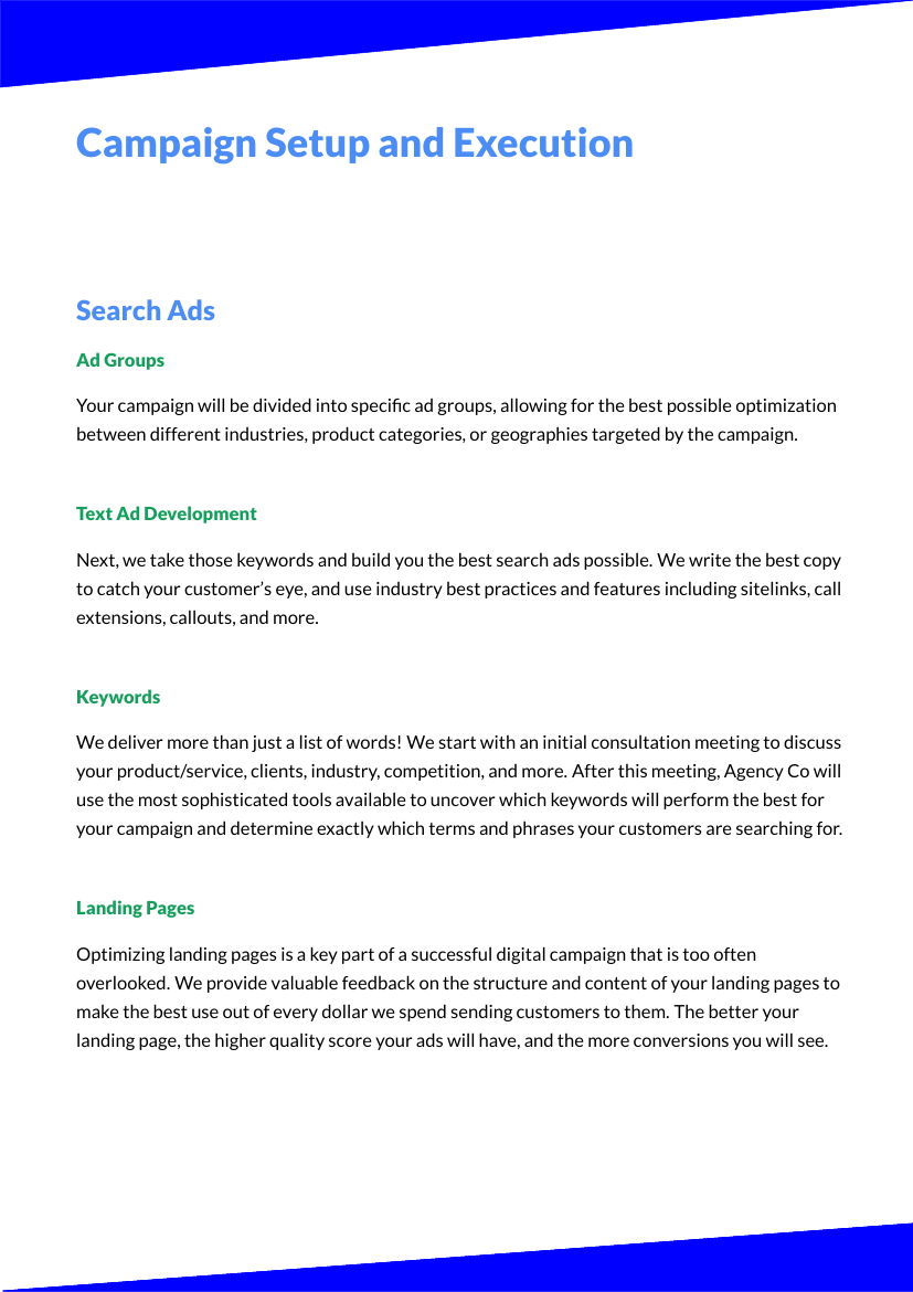 Example of Adwords & PPC format