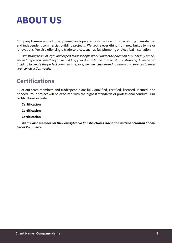 Example of Construction Job format