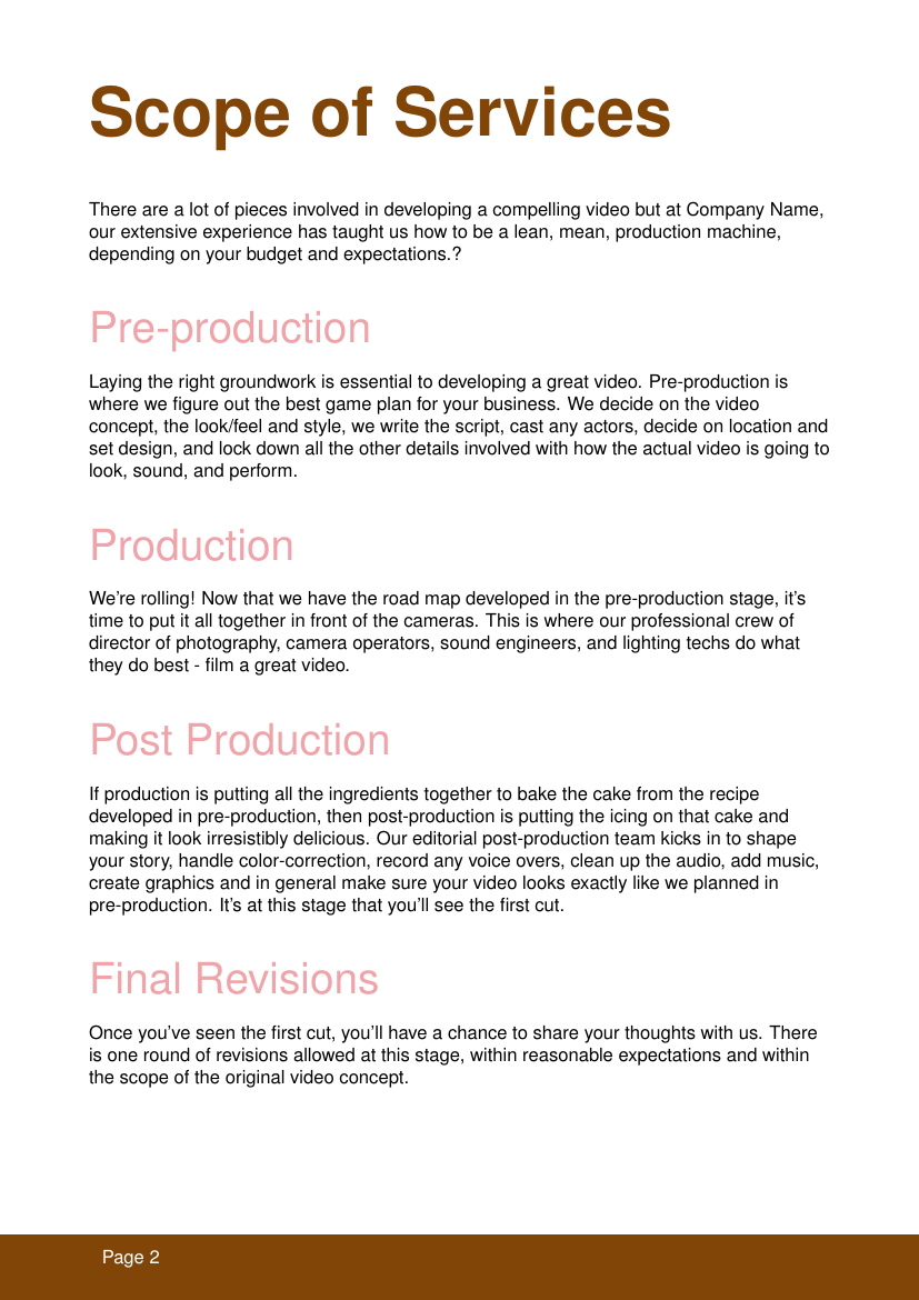 Example of Video Production format