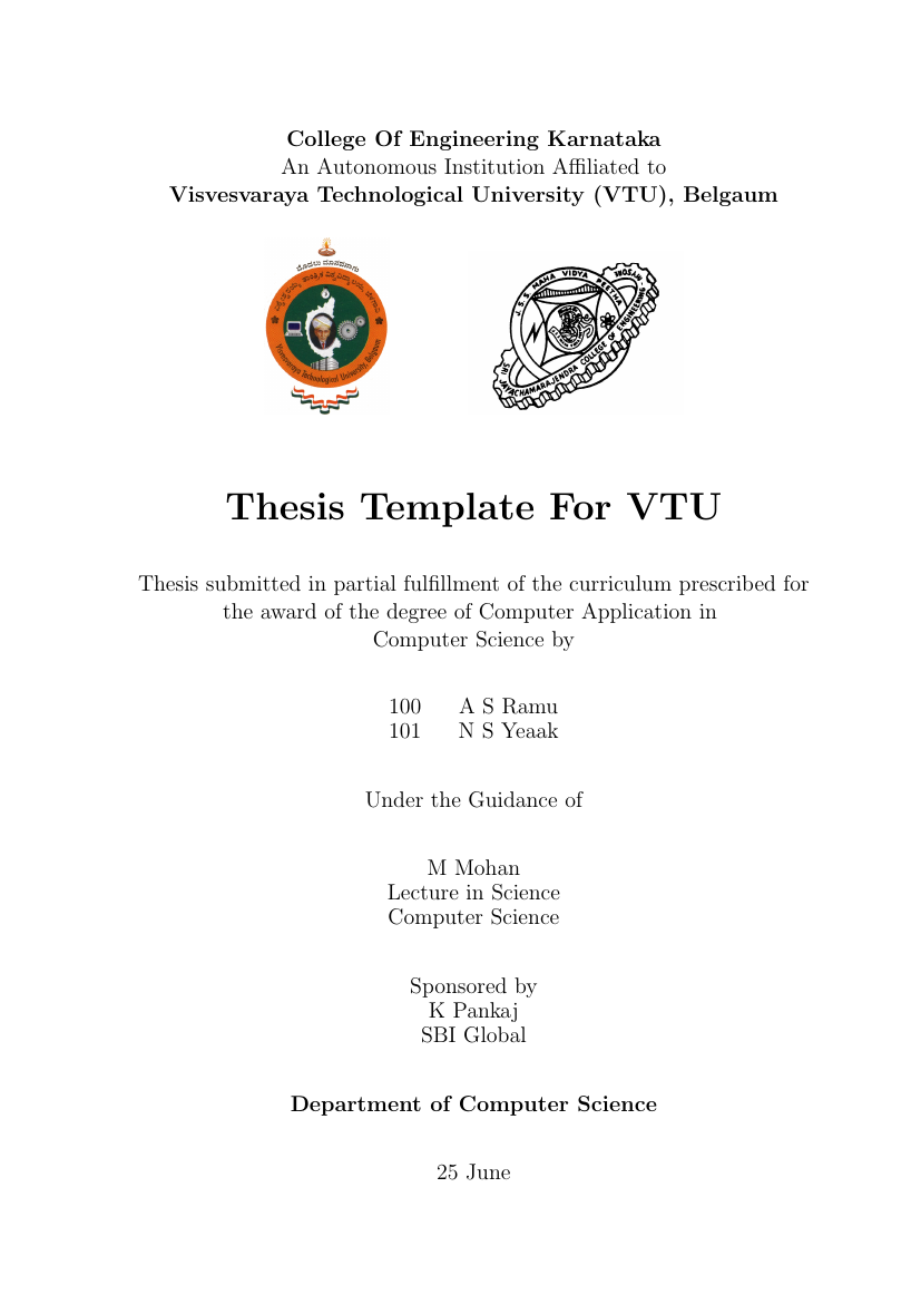 mca thesis vtu