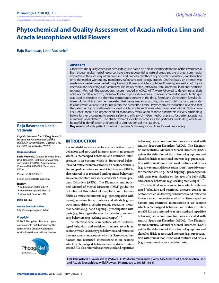 Example of Pharmacognosy Journal format