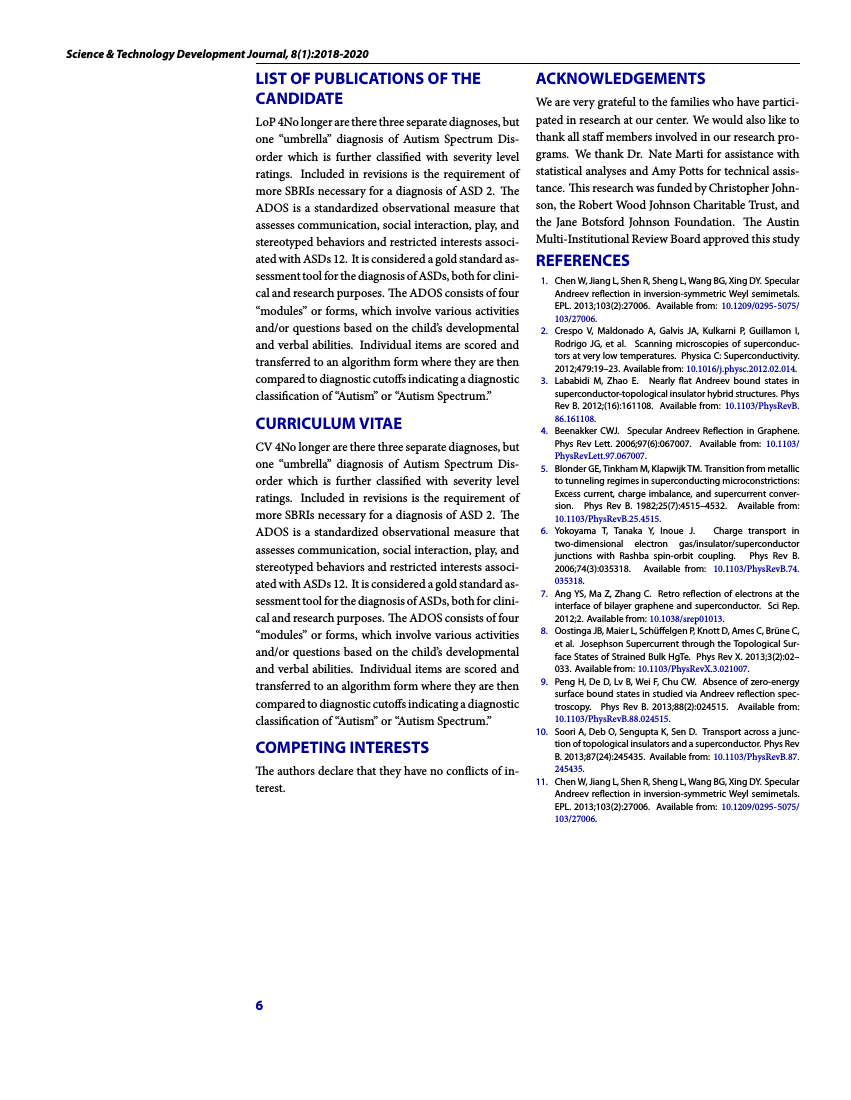 Example of Science and Technology Development Journal format