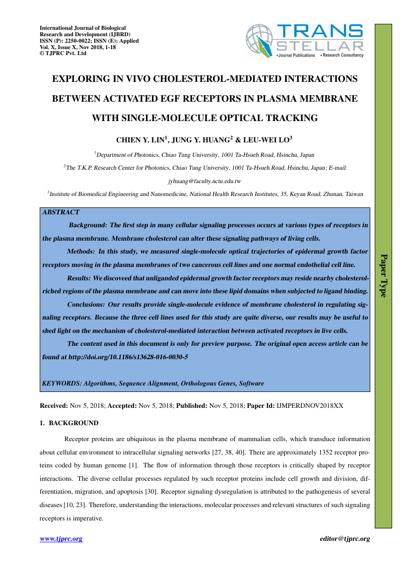 Example of International Journal of Biological Research and Development (IJBRD) format