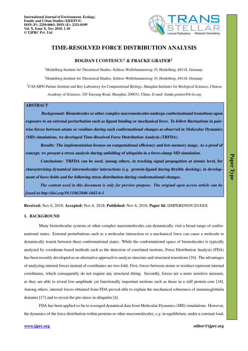 Example of International Journal of Environment, Ecology, Family and Urban Studies (IJEEFUS) format