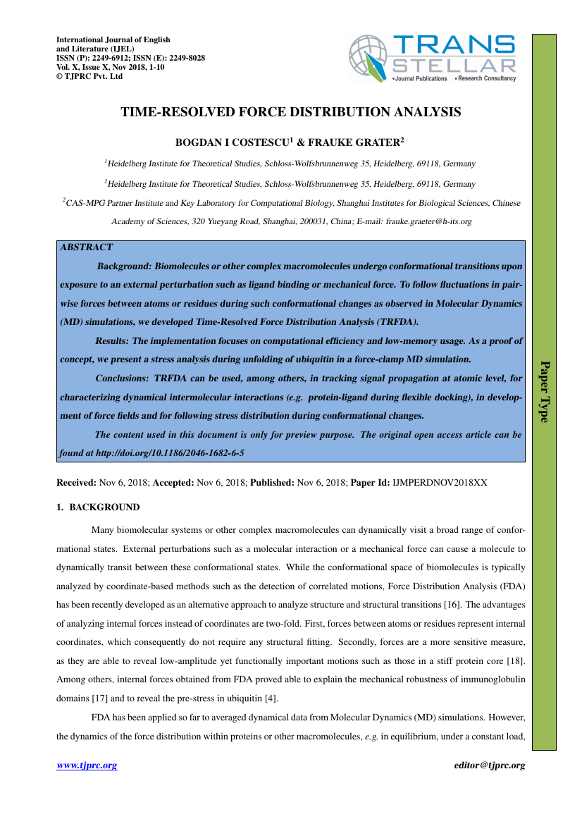 Example of International Journal of English and Literature (IJEL) format