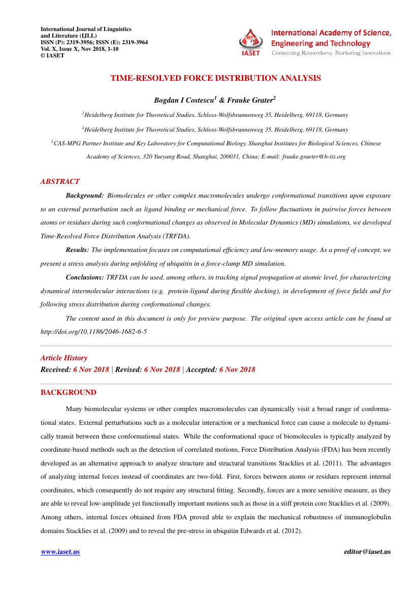 Example of International Journal of Linguistics and Literature (IJLL) format