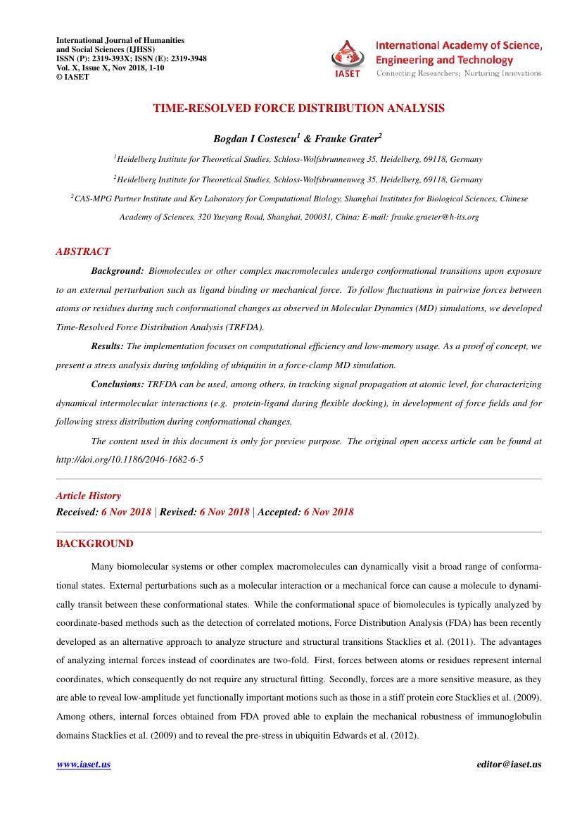 Example of International Journal of Humanities and Social Sciences (IJHSS) format