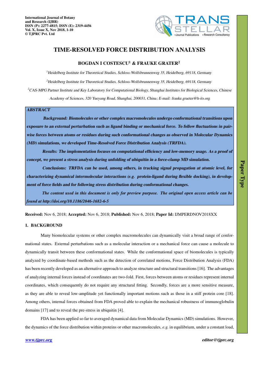 Example of International Journal of Botany and Research (IJBR) format