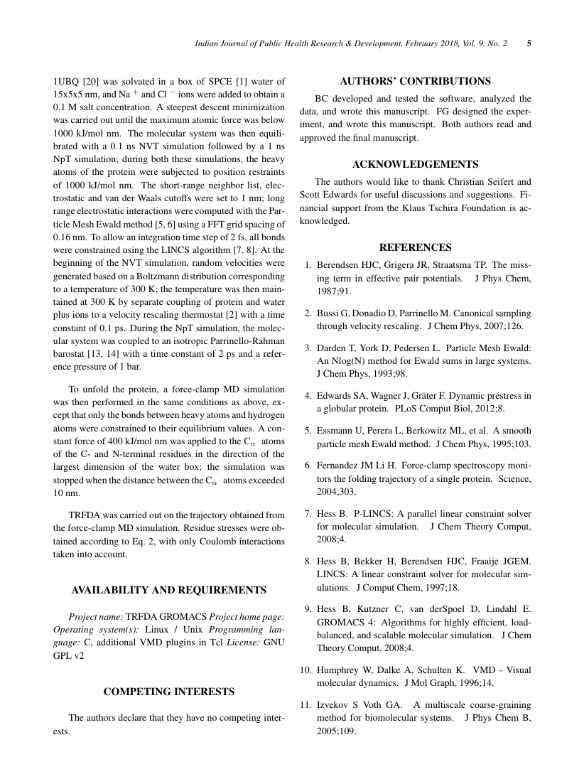 Example of Indian Journal of Public Health Research & Development format