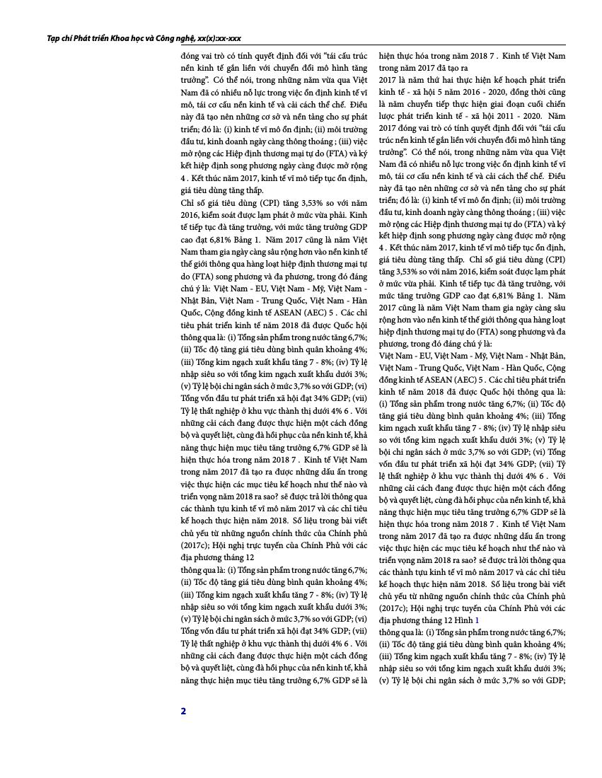 Example of Tạp chí Phát triển Khoa học và Công nghệ format