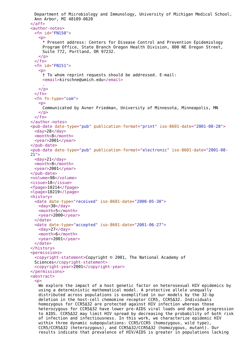 Example of Docx to JATS XML format